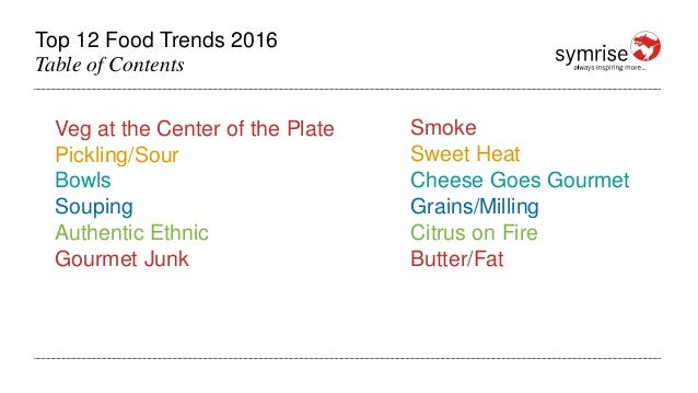 Top 12 Food Trends 2016 Table of Contents Veg at the Center of the Plate Pickling/Sour Bowls Souping Authentic Ethnic Gour...