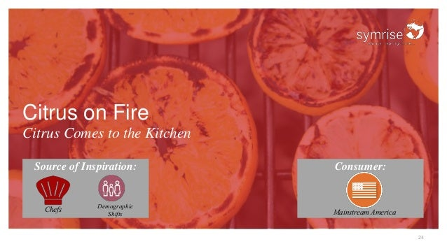 24 Citrus on Fire Citrus Comes to the Kitchen Source of Inspiration: Consumer: Chefs Demographic Shifts Mainstream America