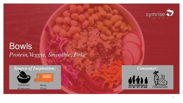 8 Bowls Protein,Veggie, Smoothie, Poke Source of Inspiration: Consumer: Vegetarian Restaurants Street Food Flexitarians