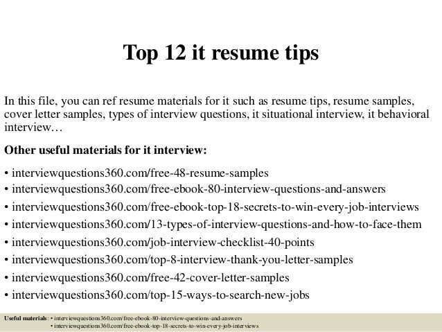 Top 12 It Resume Tips In This File, You Can Ref Resume Materials For It ...  Resume It