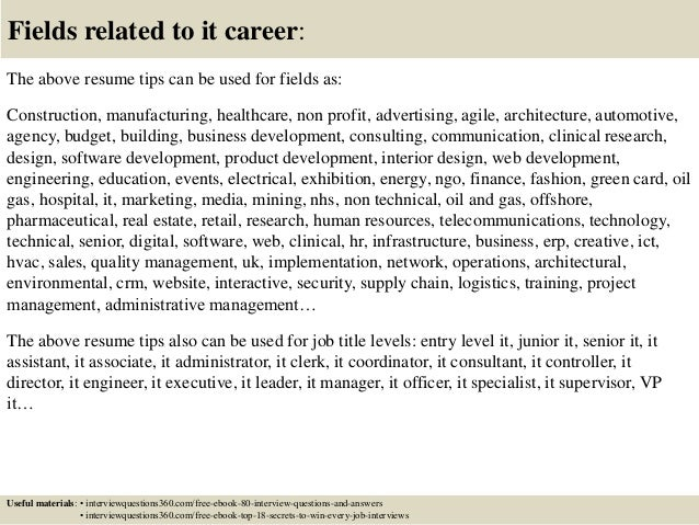 18 fields related to it career the above resume tips
