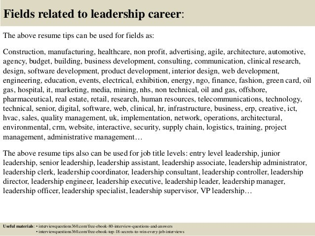 Top 12 Leadership Resume Tips