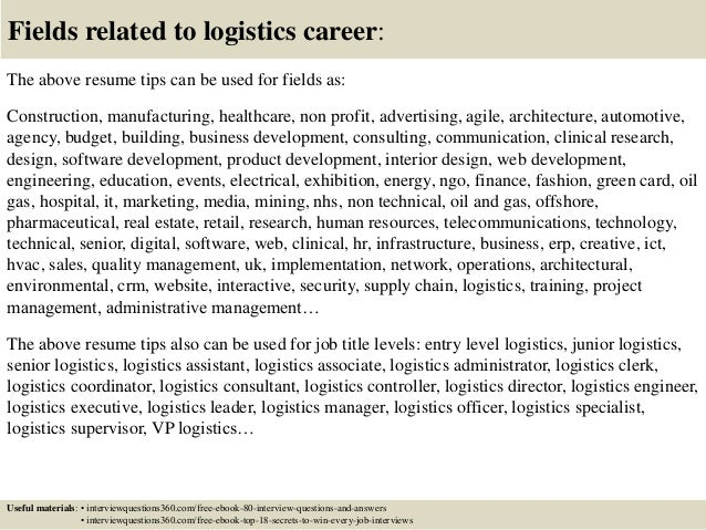 Top  Logistics Resume Tips