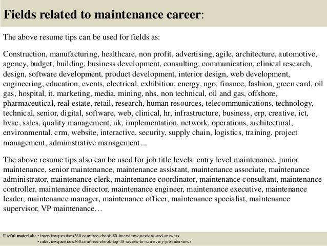 Top 12 Maintenance Resume Tips