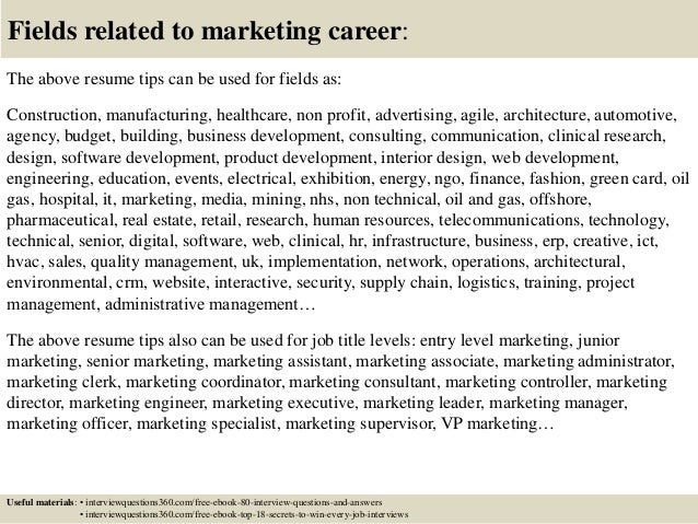 marketing resume tips