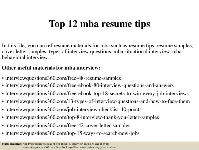 Top 12 Mba Resume Tips In This File, You Can Ref Resume Materials For Mba  ...  Mba Resumes