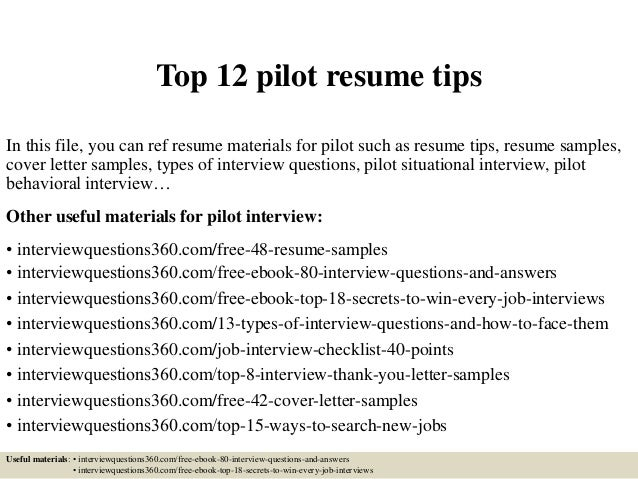 Top 12 Pilot Resume Tips In This File You Can Ref Materials For
