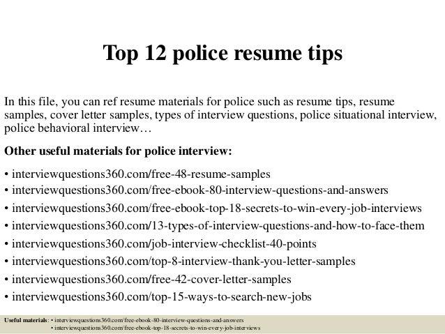 Top 12 Police Resume Tips