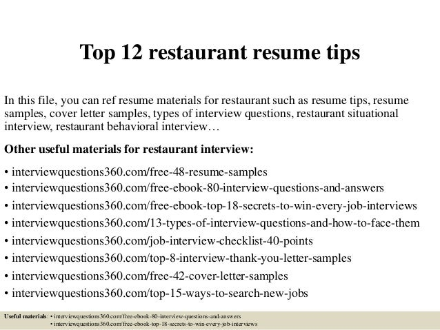Top 12 Restaurant Resume Tips In This File, You Can Ref Resume Materials  For Restaurant ...  Resume For Restaurant