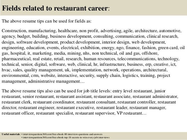 top 12 restaurant resume tips