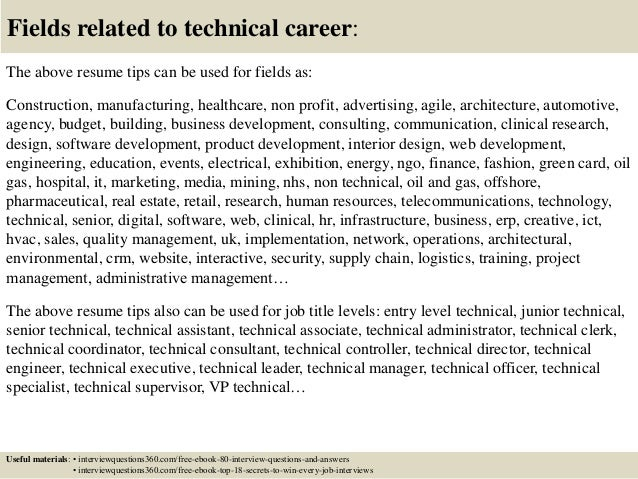 ... 18. Fields Related To Technical Career: The Above Resume Tips ...  Technical Resume Tips