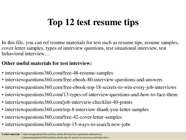 top 12 test resume tips