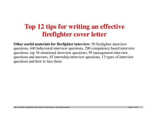 entry level firefighter cover letter
