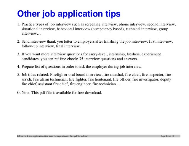 Top 12 tips for writing an effective firefighter cover letter for Covering letter for job interview