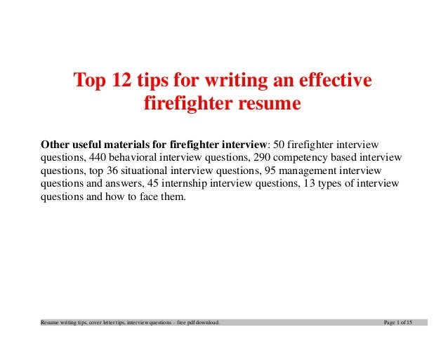 Resume Writing Tips, Cover Letter Tips, Interview Questions U2013 Free Pdf  Download.  Firefighter Resume