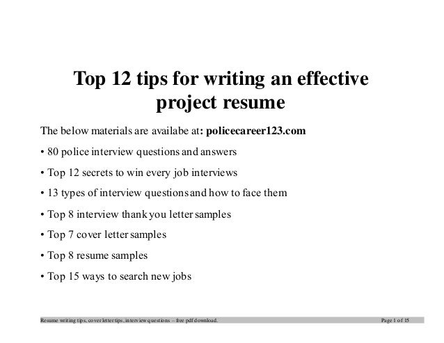 top 12 tips for writing an effective project resume the below materials are availabe at - Tips On Writing Resume