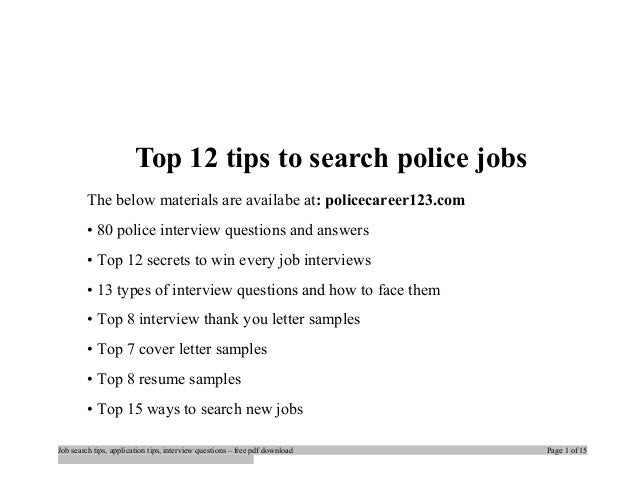 Top 12 tips to seach police jobs