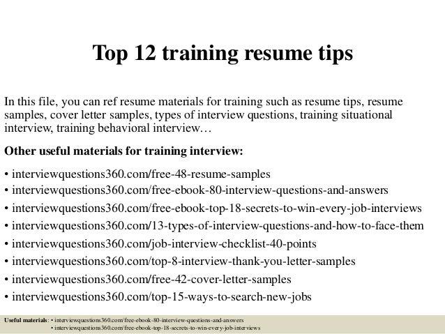 Top 12 Training Resume Tips