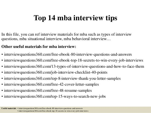 Top 14 Mba Interview Tips In This File, You Can Ref Interview Materials For  Mba ...