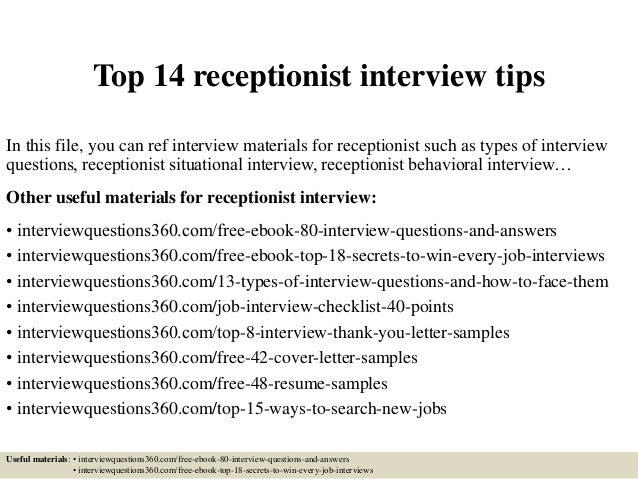 Top 14 Receptionist Interview Tips In This File You Can Ref Materials For