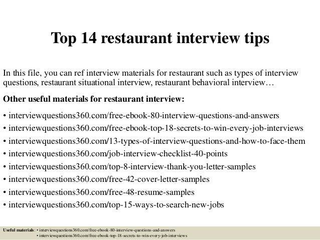 restaurant job interview