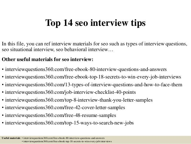 Delightful Top 14 Seo Interview Tips In This File, You Can Ref Interview  Materials For