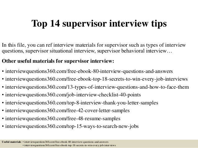 Top 14 supervisor interview tips top 14 supervisor interview tips in this file you can ref interview materials for supervisor fandeluxe Images