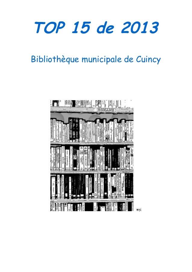 TOP 15 de 2013 Bibliothèque municipale de Cuincy  krys