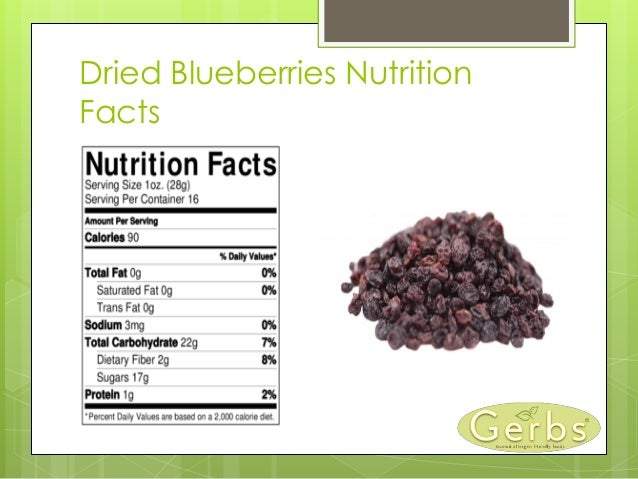 Dried Blueberries Nutrition Facts ...