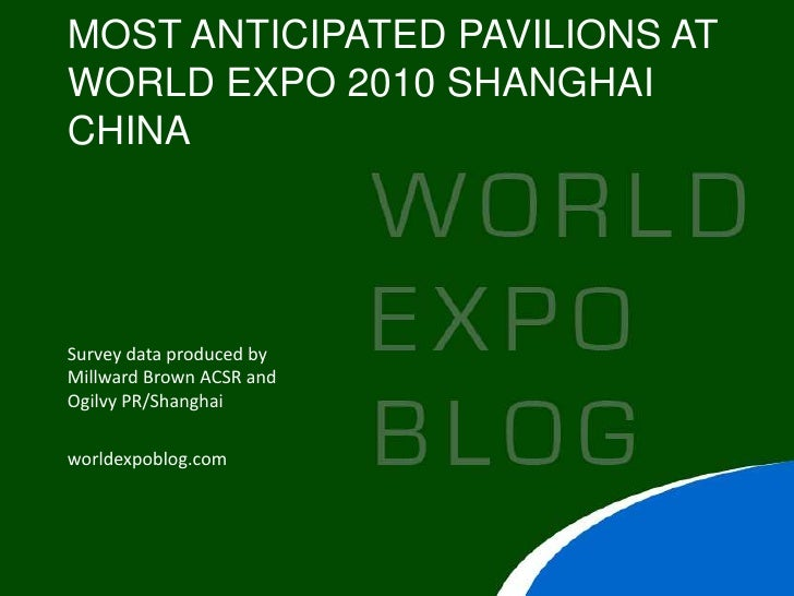 MOST ANTICIPATED PAVILIONS AT WORLD EXPO 2010 SHANGHAI CHINA     Survey data produced by Millward Brown ACSR and Ogilvy PR...