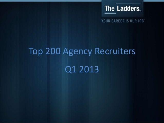 Top 200 Agency RecruitersQ1 2013