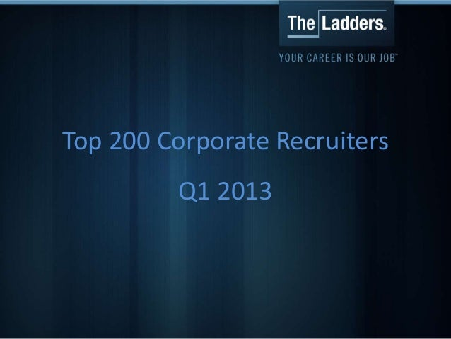 Top 200 Corporate RecruitersQ1 2013