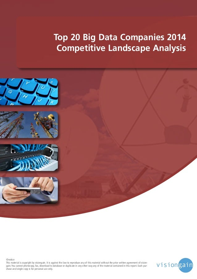 Top 20 Big Data Companies 2014 Competitive Landscape Analysis  ©notice This material is copyright by visiongain. It is aga...