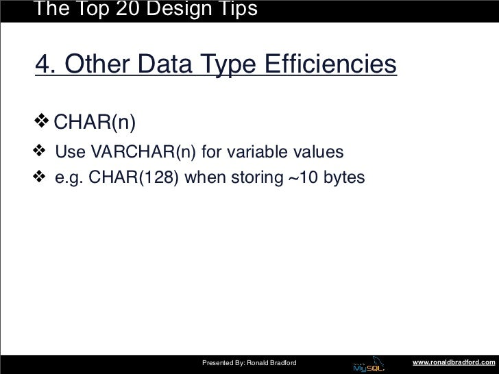 The Top 20 Design Tips  4. Other Data Type Efficiencies  ❖ CHAR(n) ❖ Use VARCHAR(n) for variable values ❖ e.g. CHAR(128)...