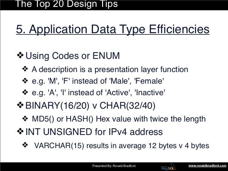 The Top 20 Design Tips  5. Application Data Type Efficiencies  ❖ Using Codes or ENUM  ❖ A description is a presentation lay...