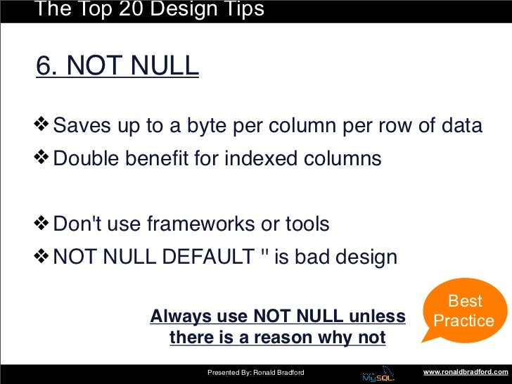 The Top 20 Design Tips  6. NOT NULL  ❖ Saves up to a byte per column per row of data ❖ Double benefit for indexed columns  ...