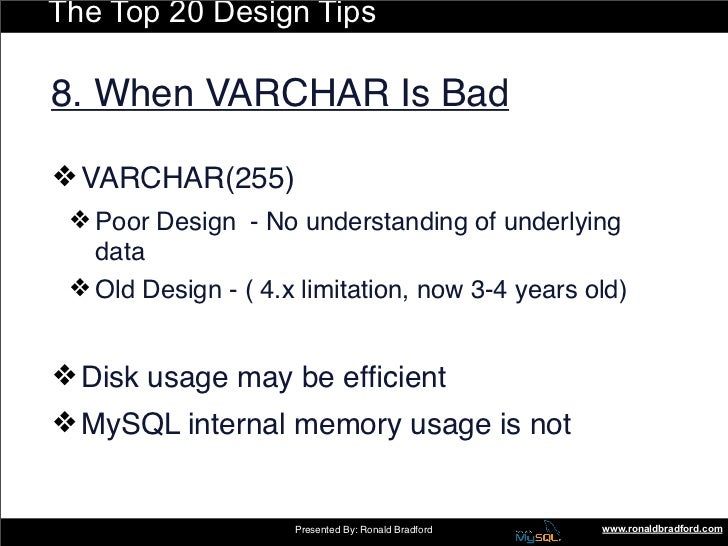 The Top 20 Design Tips  8. When VARCHAR Is Bad  ❖ VARCHAR(255)  ❖ Poor Design - No understanding of underlying    data ...