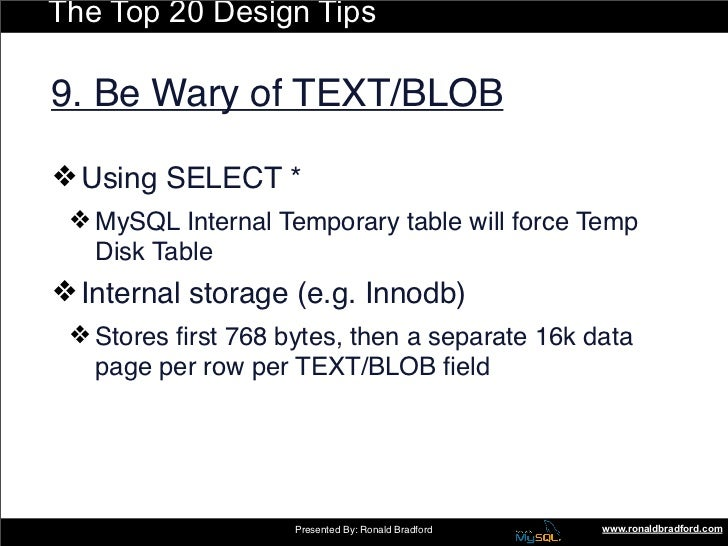 The Top 20 Design Tips  9. Be Wary of TEXT/BLOB  ❖ Using SELECT *  ❖ MySQL Internal Temporary table will force Temp    Dis...