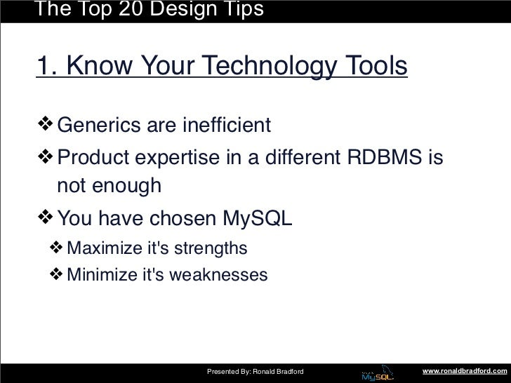 The Top 20 Design Tips  1. Know Your Technology Tools  ❖ Generics are inefficient ❖ Product expertise in a different RDBMS ...