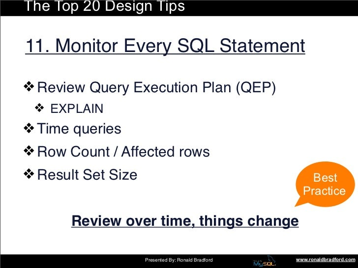 The Top 20 Design Tips  11. Monitor Every SQL Statement  ❖ Review Query Execution Plan (QEP)  ❖ EXPLAIN ❖ Time queries ...