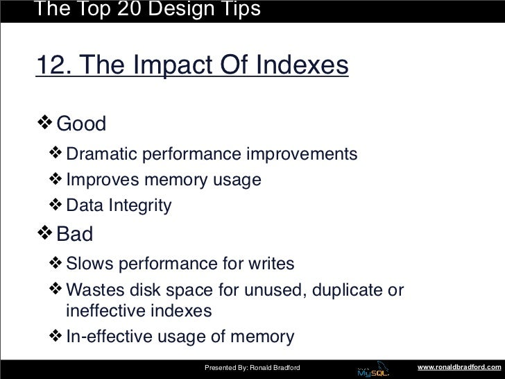 The Top 20 Design Tips  12. The Impact Of Indexes  ❖ Good  ❖ Dramatic performance improvements  ❖ Improves memory usage  ❖...