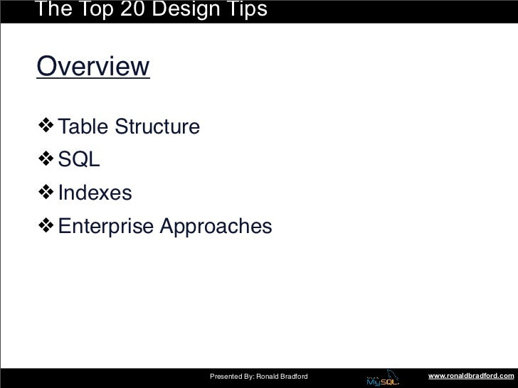 The Top 20 Design Tips  Overview  ❖ Table Structure ❖ SQL ❖ Indexes ❖ Enterprise Approaches                         Presen...