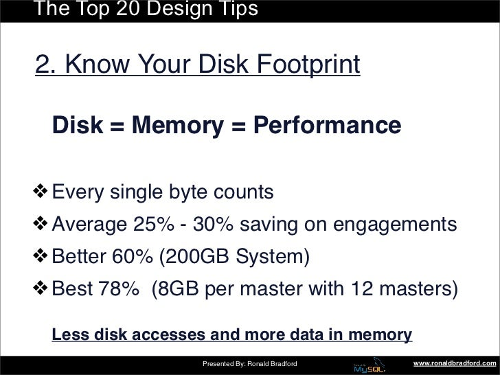 The Top 20 Design Tips  2. Know Your Disk Footprint    Disk = Memory = Performance  ❖ Every single byte counts ❖ Average 2...