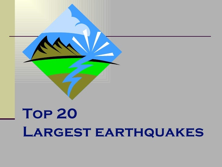 Top 20  Largest earthquakes