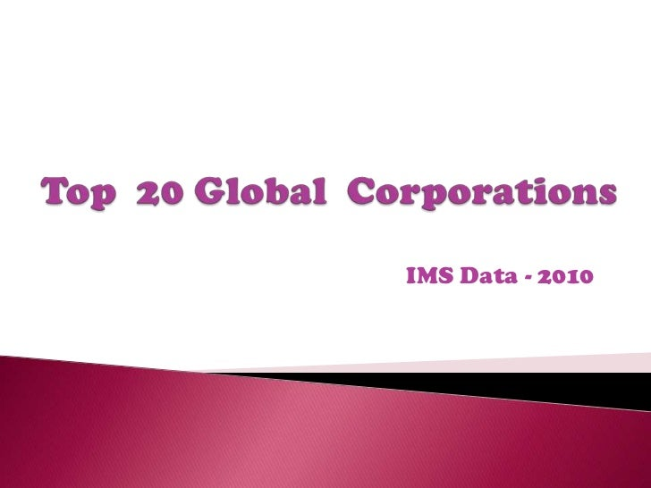 Top  20 Global  Corporations<br />IMS Data - 2010<br />