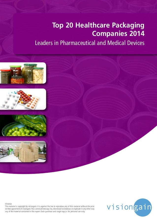 Top 20 Healthcare Packaging Companies 2014 Leaders in Pharmaceutical and Medical Devices ©notice This material is copyrigh...