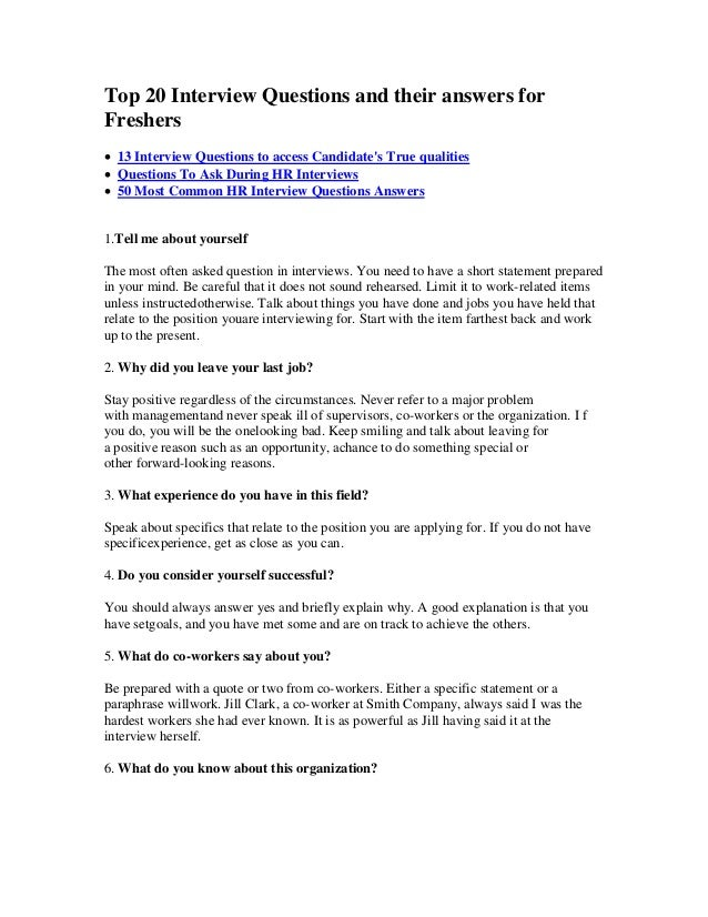 top 20 interview questions and their answers for freshers 13 interview questions to access candidates - Interview Question And Answers