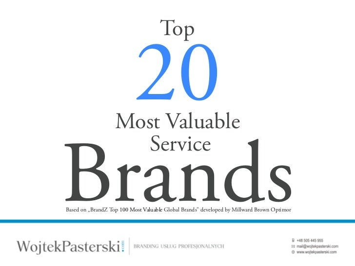 Top 20 Most Valuable Service Brands