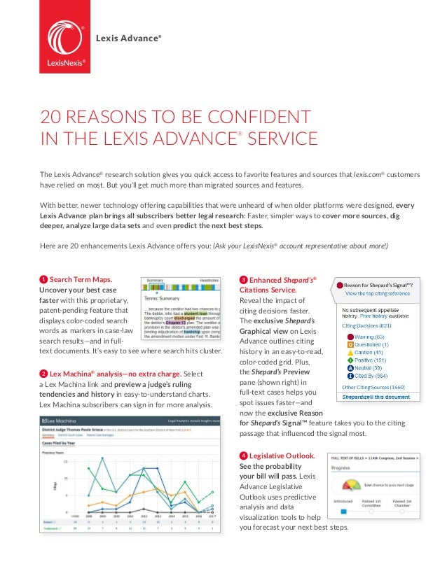 20 reasons to be confident in the lexis advance service the lexis advance research