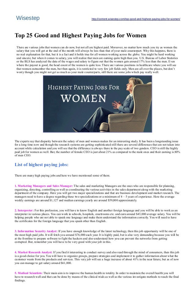 top 25 good and highest paying jobs for women